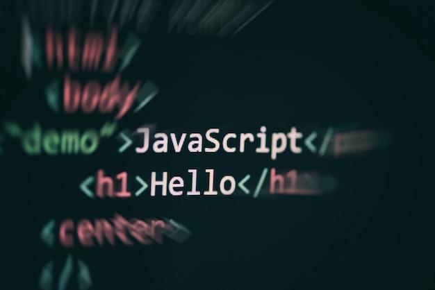 Javascriptコードコンピュータ言語プログラミングインターネットテキストエディタコンポーネント Premium写真