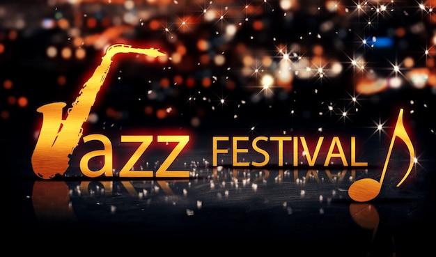 Jazz festival saxophone gold city bokeh star shine yellow 3d Premium Photo