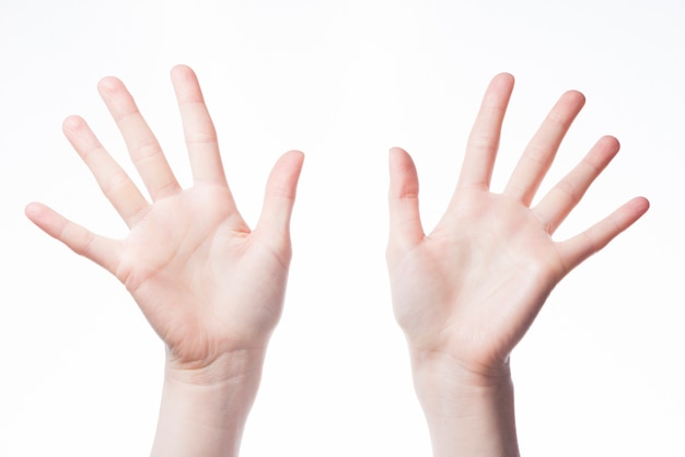 Jazz hands on white background Premium Photo