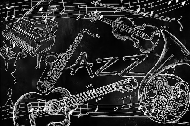 jazz instruments music background on dark blackboard photo