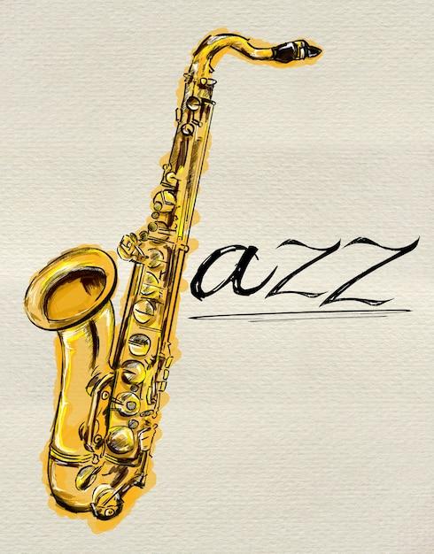 Jazz saxophone painting Free Photo
