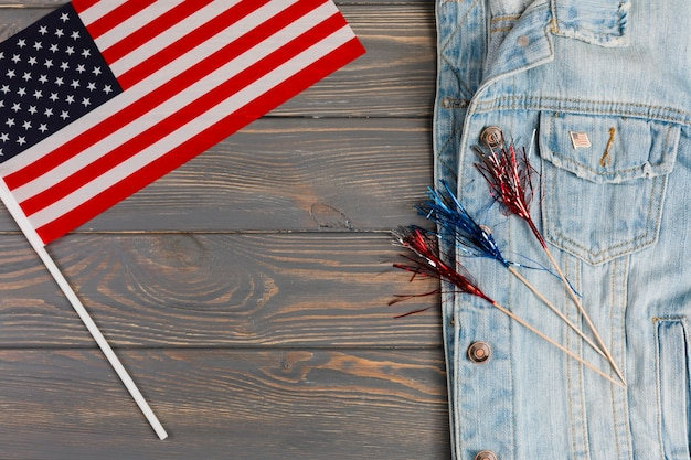 Jean jacket with flag and decoration Free Photo