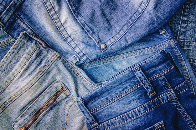 Jeans. stylish clothes. selective focus. shopping time. Premium Photo