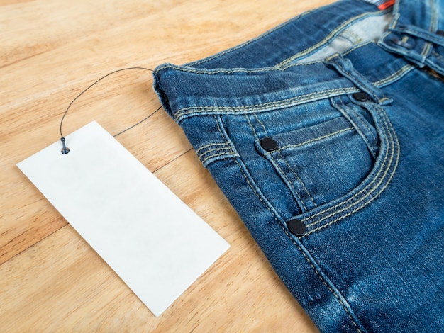 Jeans with deerskin label and price tag Premium Photo