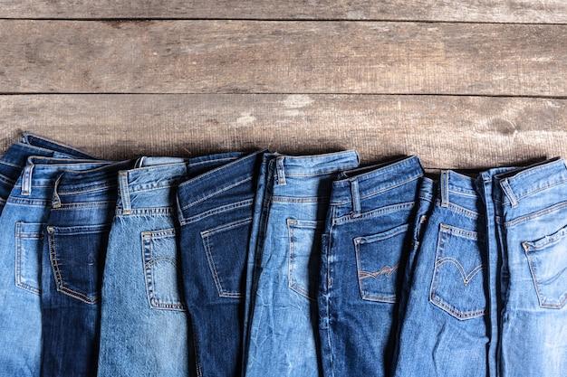 Jeans on wooden Premium Photo