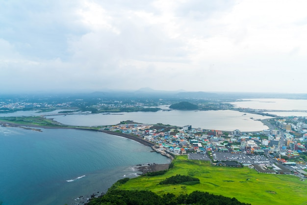 Jeju city skyline view from seongsan ilchulbong, jeju island. Premium Photo