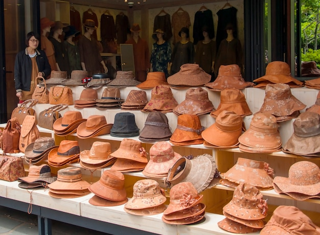 Jeju island, korea - october 12: traditional hat shop in jeju do Free Photo