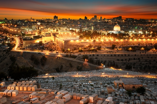 Jerusalem city by sunset Premium Photo