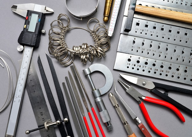 Jeweler tools background Premium Photo
