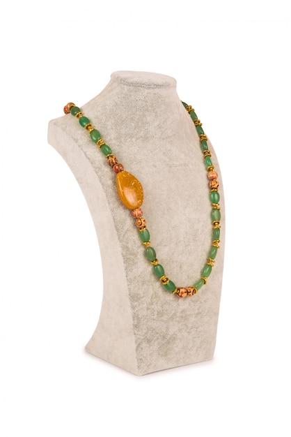 Jewellery necklace isolated on white background Premium Photo