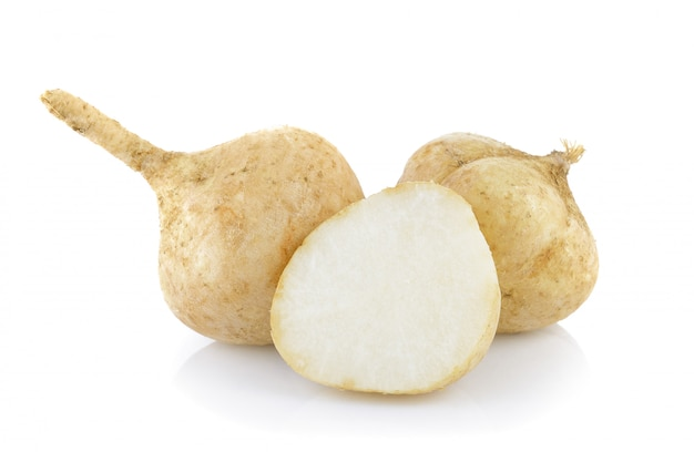 Jicama on white background Premium Photo
