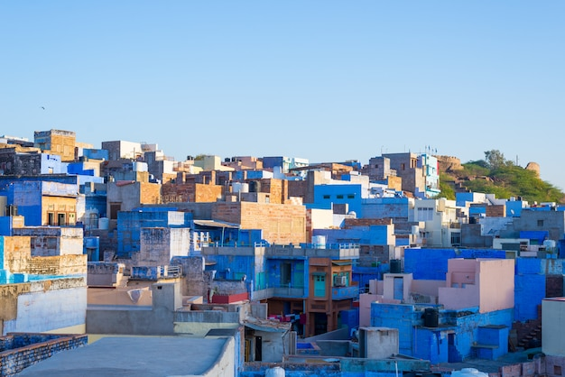Jodhpur, rajasthan, india, famous travel destination and tourist attraction. the blue city viewed from above in daylight, wide angle. Premium Photo