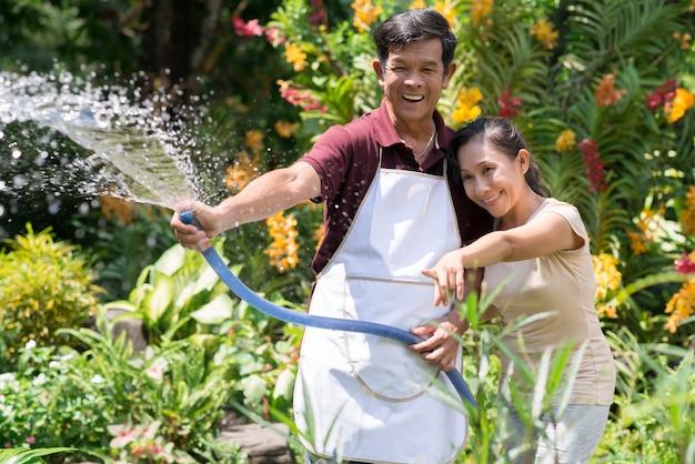 Joyful moments in gardening Premium Photo