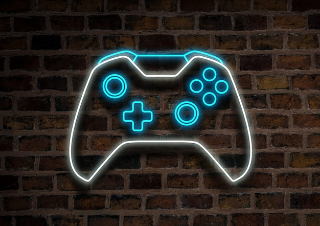 Premium Photo Joystick Or Gamepad Neon Sign On A Brick Wall Background Computer Games Concept Tournament