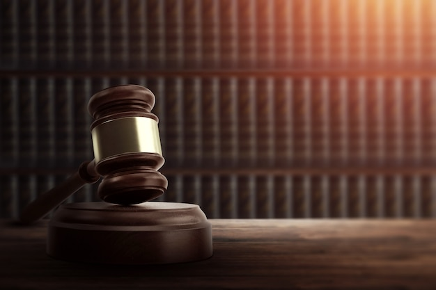 Judge's gavel and on a wooden table Premium Photo
