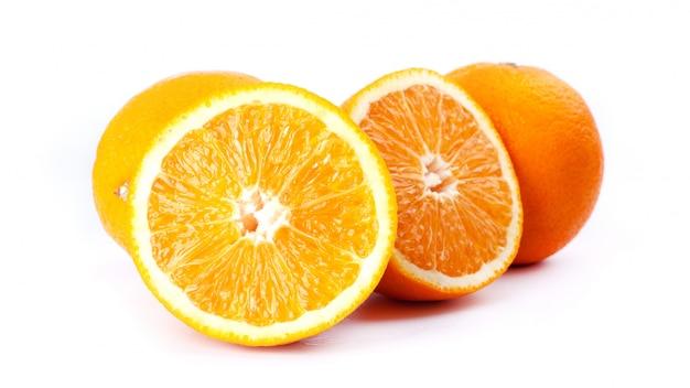 Juicy oranges isolated on white background close-up Premium Photo
