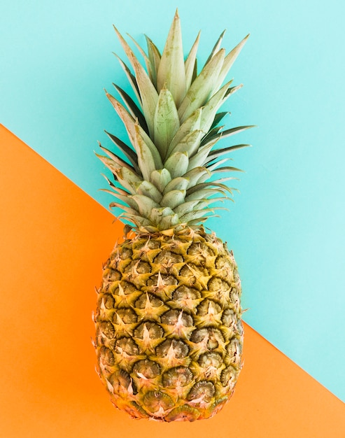 Juicy pineapple on multicolored background Free Photo