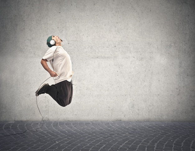 Jumping for the music Premium Photo