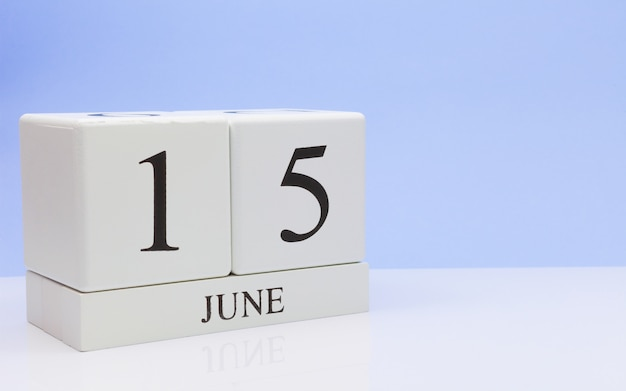 June 15st. day 15 of month, daily calendar on white table Premium Photo