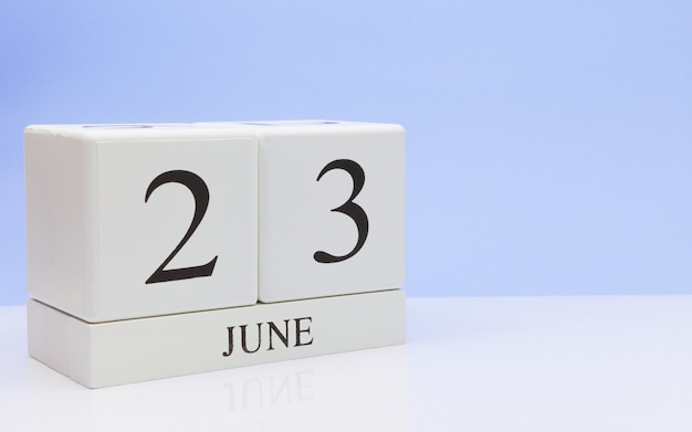 June 23st. day 23 of month, daily calendar on white table Premium Photo