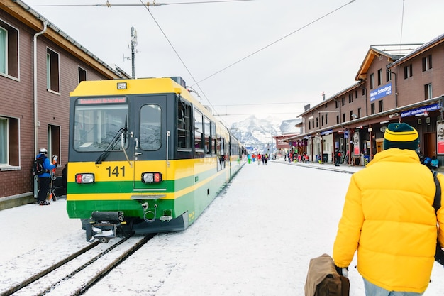 The jungfrau railway a train that runs from interlaken to the jungfrau mountain summit on the alps Premium Photo