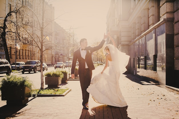 Just married dancing Free Photo