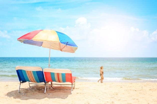Ka-ron beach at phuket , thailand. white sand beach with beach umbrella. summer, travel, vacation and holiday concept. Premium Photo