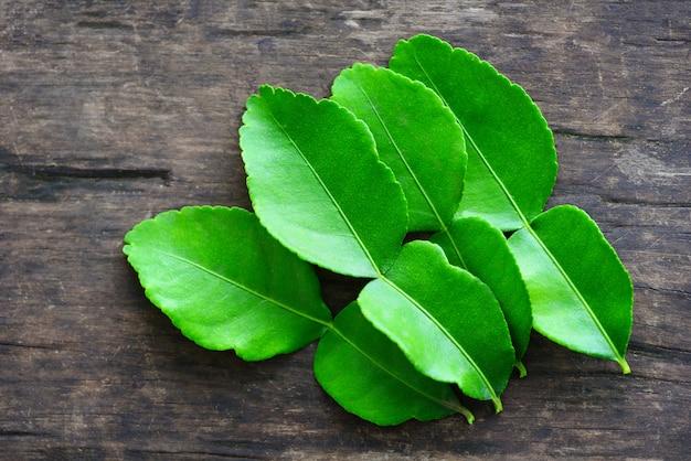 Листья каффир лайма листья бергамота Premium Фотографии