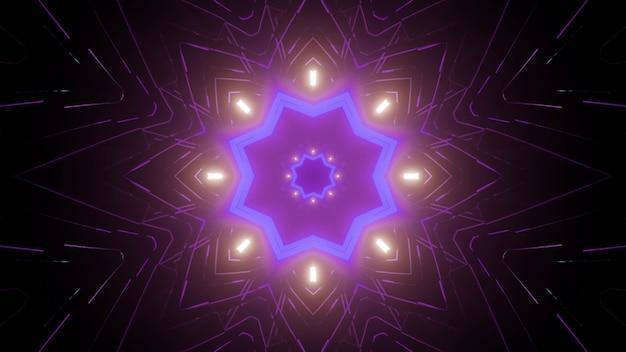 Kaleidoscopic futuristic 3d illustration of symmetric star shaped pattern glowing with neon light in dark Premium Photo