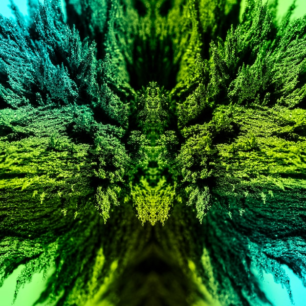 Kaleidoscopic green abstract magnetic metallic shaving background Free Photo