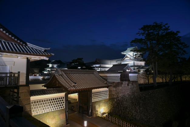 Kanazawa castle in evening, japan Premium Photo