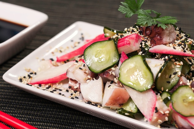 Kani-kama japanese dish food and salad meal, asian food dish, fresh sea food fish Premium Photo