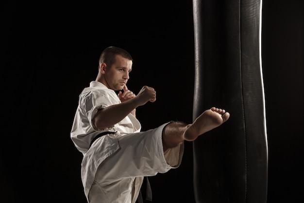 Karate round kick in a punching bag Free Photo