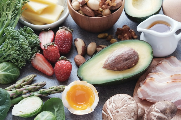 Keto, ketogenic diet, low carb, healthy food Premium Photo