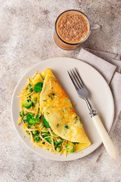 Keto low carb omelet  and bulletproof coffee Premium Photo