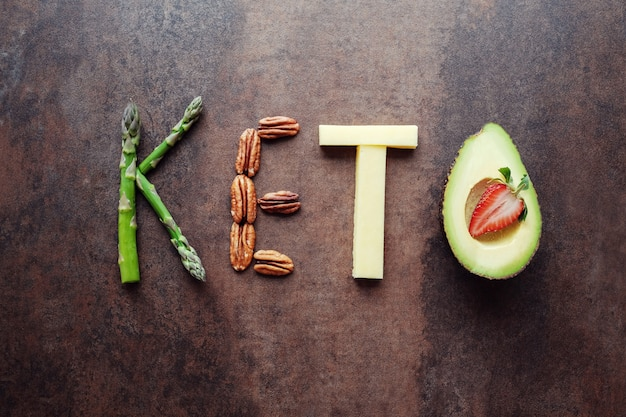 Keto word made from ketogenic food Premium Photo