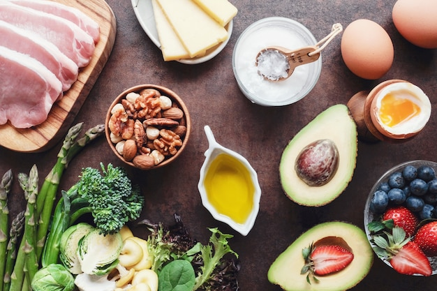 Ketogenic diet, low carb, high fat, healthy food Premium Photo