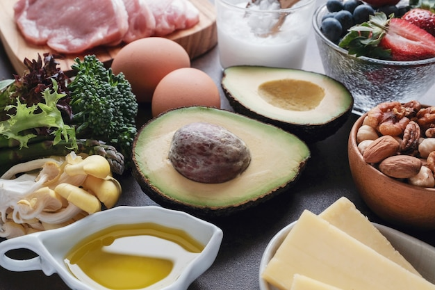 Premium Photo Ketogenic Diet Low Carb High Fat Healthy Food