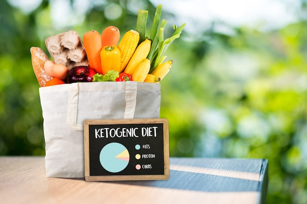 Ketogenic diet  organic grocery vegetables healthy low carbs Premium Photo