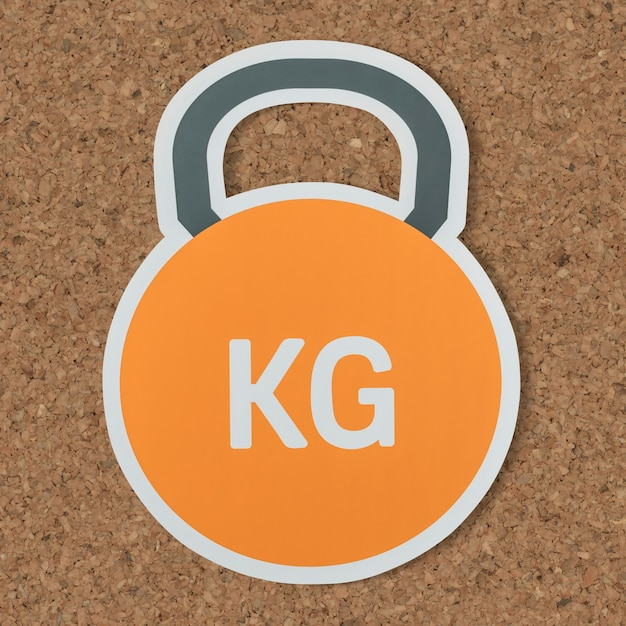 Kettlebell heavy weight lifting icon Free Photo