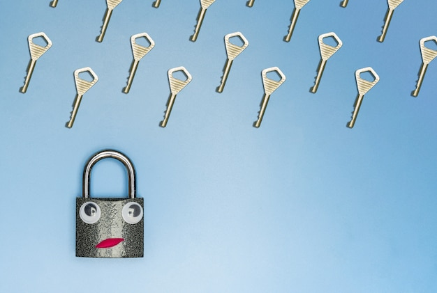 Key rain with lock funny concept, copy space, blue background Premium Photo