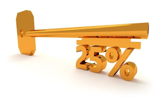 Ключ с 25 процентами, изолированные на белом фоне Premium Фотографии