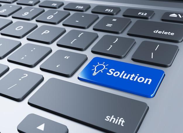 Клавиатура с кнопкой решений. компьютерная клавиатура с кнопкой решений. 3d иллюстрации Premium Фотографии