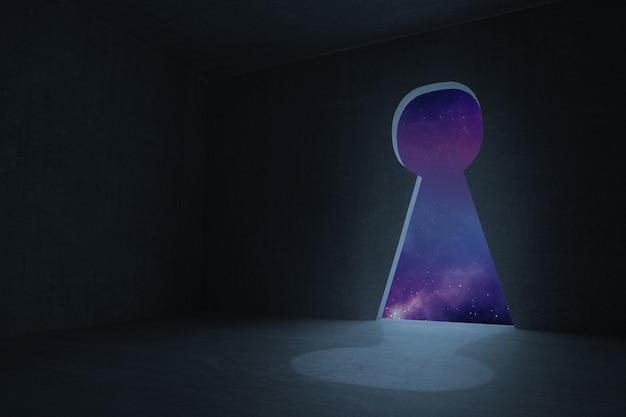 Keyhole door in dark room Premium Photo
