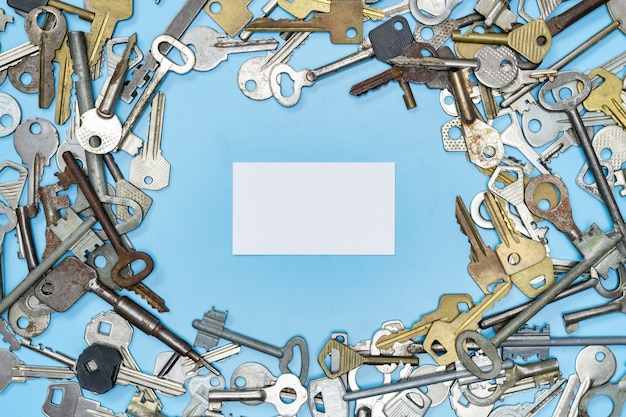 Keys set with copy space, property security and house protection Premium Photo