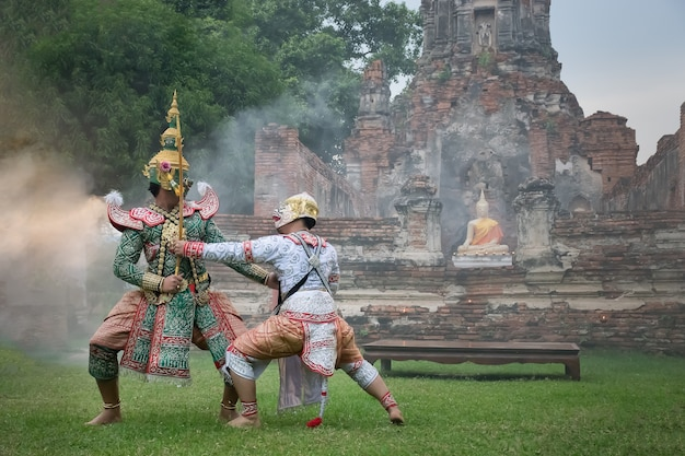 Khon mask traditional thai drama dance Photo | Premium Download