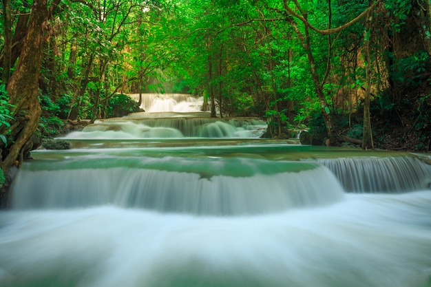Khuean srinagarindra国立公園のhuay mae kamin滝。タイ・カンチャナブリー県の深い森の中の美しい有名な滝 Premium写真