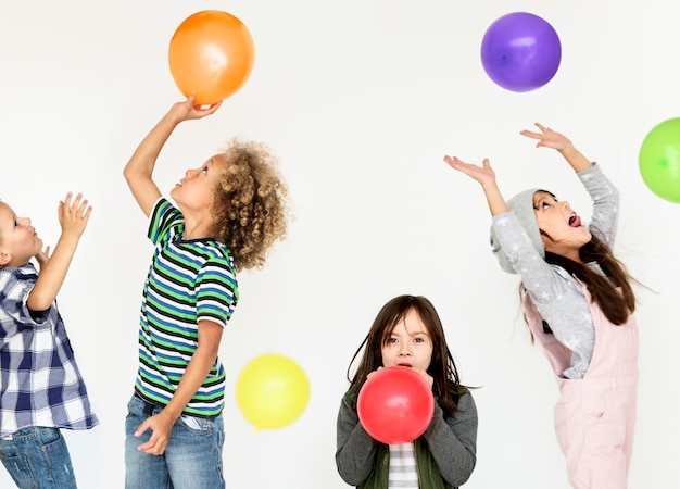 Kid childhood people race emotional studio shoot Premium Photo