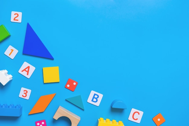 Kid educational toy and stationary for school concept Premium Photo