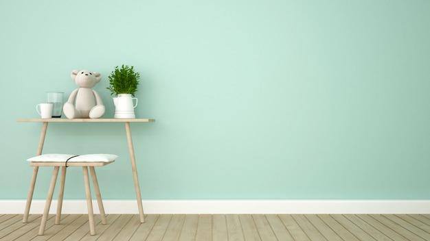 Kid room in green tone - 3d rendering Premium Photo